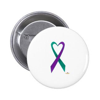 Teal And Purple Heart Shaped Awareness Ribbon Pinback Button