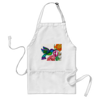 Teal and Purple Hummingbird with Flowers Aprons