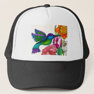 Teal and Purple Hummingbird with Flowers Trucker Hat