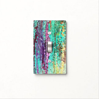 Teal and Purple mosaic Lightswitch cover Switch Plate Covers