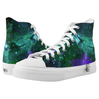 Teal and Purple Nebula and Stars Hightop ZIPZ Printed Shoes
