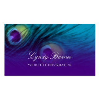 Teal and Purple Peacock Feathers Business Card