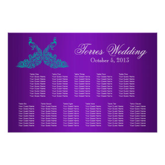 Teal and Purple Peacock Seating Chart