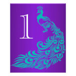 Teal and Purple Peacock Table Numbers Flyers