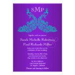 Teal and Purple Peacock Wedding Invitations