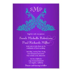 Teal and Purple Peacock Wedding Invitations 5