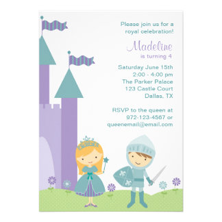 Teal and Purple Princess and Knight Invitations Personalized Announcements