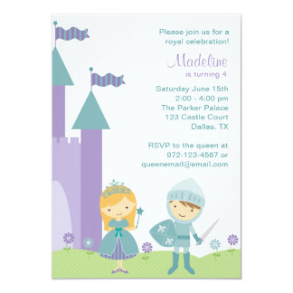 Teal and Purple Princess and Knight Invitations