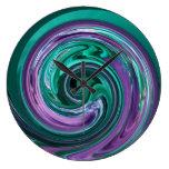 Teal and Purple Swirl Clock