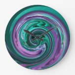 Teal and Purple Swirl Clock