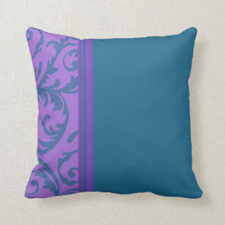 Teal and Purple Swirl Decorative Pillow