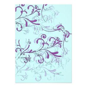 Teal and Purple Swirl Invitations
