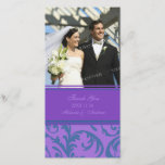 """Teal and Purple Swirl Thank You Wedding Photo Card<br><div class=""""desc"""">Wedding thank you photo cards in elegant and modern teal blue and dark purple with delicate swirly flourish pattern. A perfect way to thank friends and family for wedding gifts and to share your wedding photos. Available in matching postage,  and many other products for your wedding.</div>"""