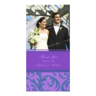 Teal and Purple Swirl Thank You Wedding Photo Card