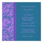 "Teal and Purple Swirl Wedding Invitation Cards 5.25"" Square Invitation Card"