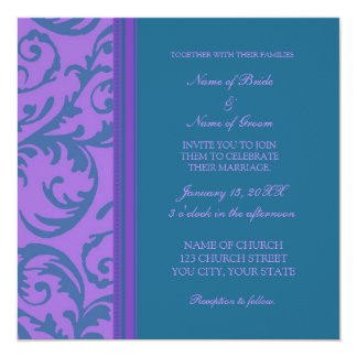 Teal and Purple Swirl Wedding Invitation Cards