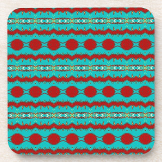 Teal and Red Abstract Coaster