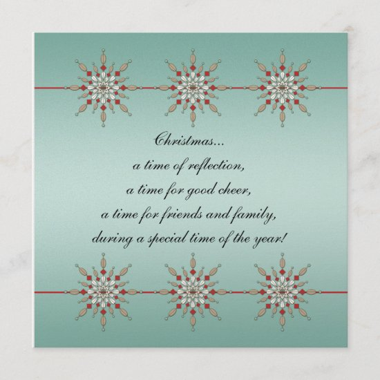 Teal and Red Christmas Ornaments Party Invite