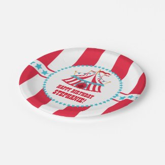 Teal and Red Circus Tent Birthday Plates