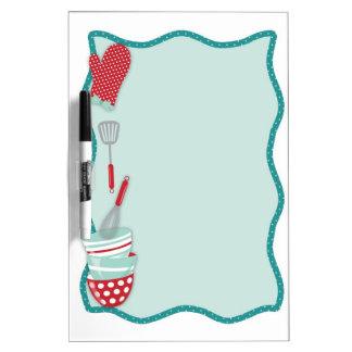 Teal and Red Kitchen Utensils Dry Erase Board