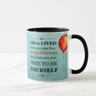 Teal and Red-Orange Watercolor Life is LIVED Mug