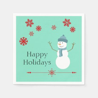 Teal and Red Snowman Christmas Party Napkins Paper Napkin