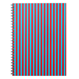 Teal and Red Stripes Notebook