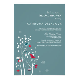 Teal and Red Winter Snow Bridal Shower Invitation