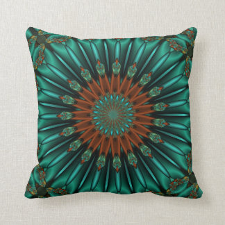teal and rust abstract design pillow