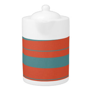 Teal and Salmon Orange Retro Stripes Teapot