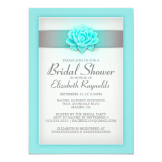 Teal and Silver Bridal Shower Invitations