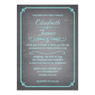 Teal and Silver Chalkboard Wedding Invitations