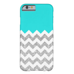 Teal and Silver Faux Glitter Chevron Barely There iPhone 6 Case