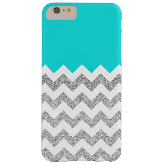 Teal and Silver Faux Glitter Chevron Barely There iPhone 6 Plus Case