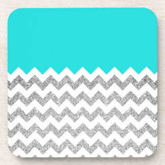 Teal and Silver Faux Glitter Chevron Beverage Coaster