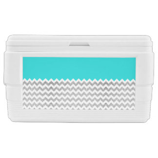 Teal and Silver Faux Glitter Chevron Cooler