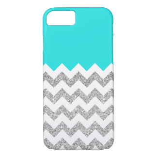 Teal and Silver Faux Glitter Chevron iPhone 7 Case