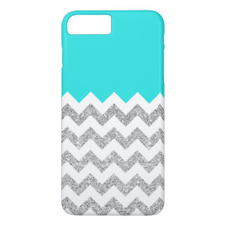 Teal and Silver Faux Glitter Chevron iPhone 7 Plus Case