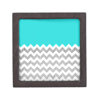 Teal and Silver Faux Glitter Chevron Jewelry Box