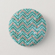 Teal and silver glittery chevron pattern. button