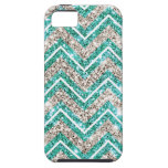 Teal and silver glittery chevron pattern. iPhone 5 cases