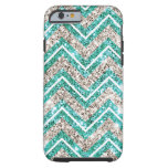 Teal and silver glittery chevron pattern. iPhone 6 case