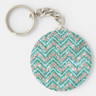 Teal and silver glittery chevron pattern. keychain