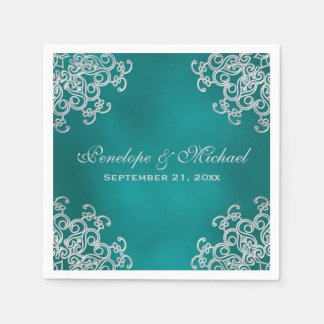 Teal and Silver Indian Style Wedding Paper Napkin