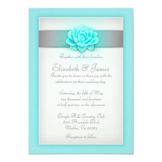 Teal And Silver Wedding Invitations