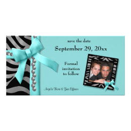 Teal And Silver Zebra Gems Save The Date Card
