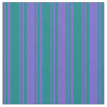 [ Thumbnail: Teal and Slate Blue Colored Striped Pattern Fabric ]