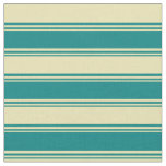 [ Thumbnail: Teal and Tan Colored Lines Pattern Fabric ]