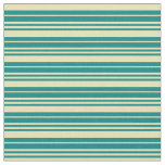 [ Thumbnail: Teal and Tan Lined/Striped Pattern Fabric ]