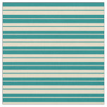 [ Thumbnail: Teal and Tan Pattern of Stripes Fabric ]